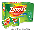 Free samples of ZYRTEC® Tablets